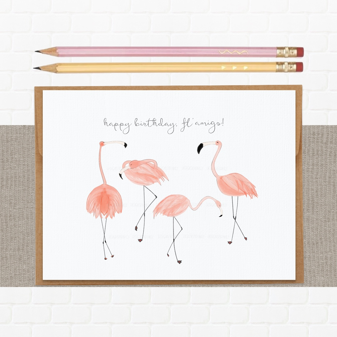 Birthday Card Pretty And Funny Flamingo Pun Design