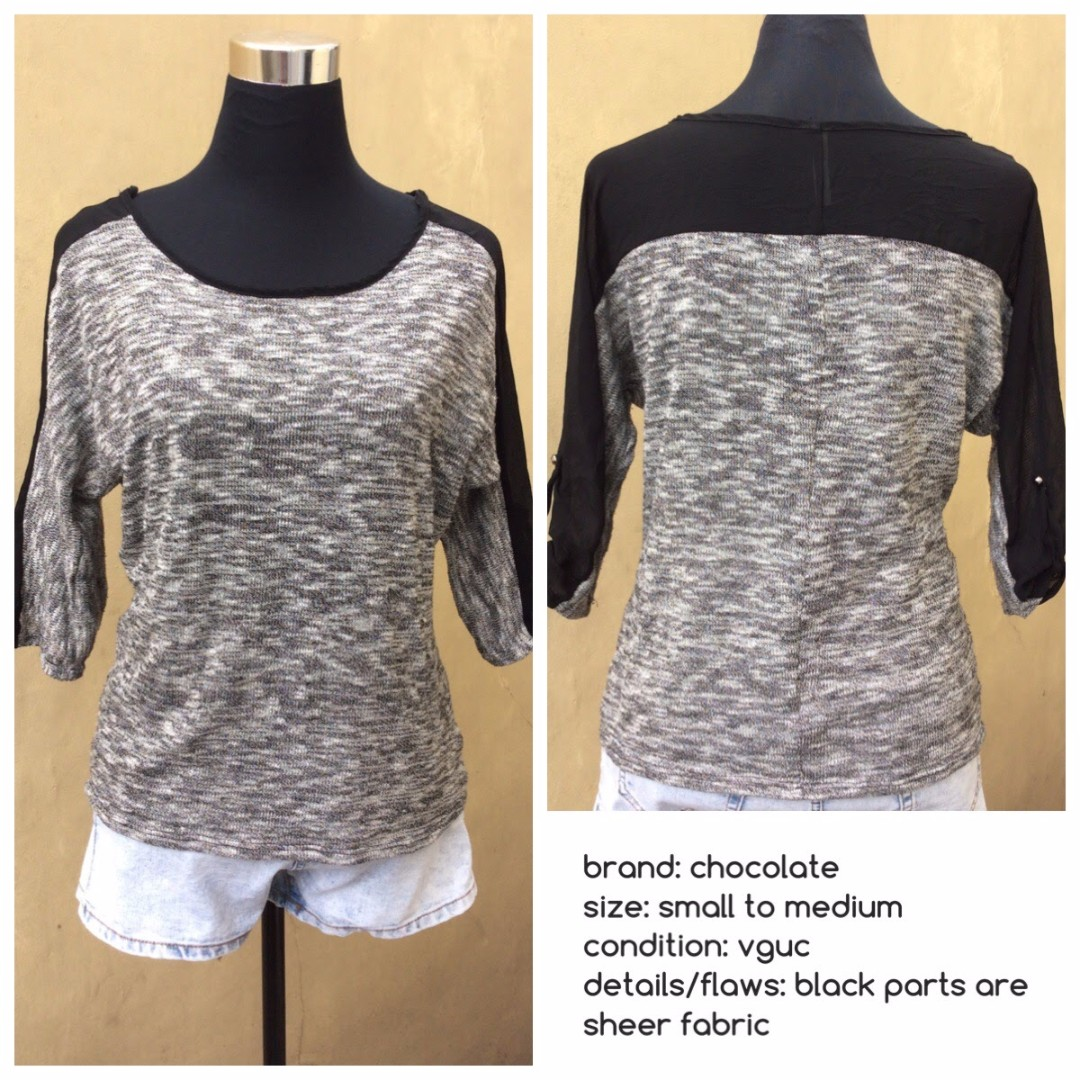 Black and Gray 3/4 Sleeved Blouse