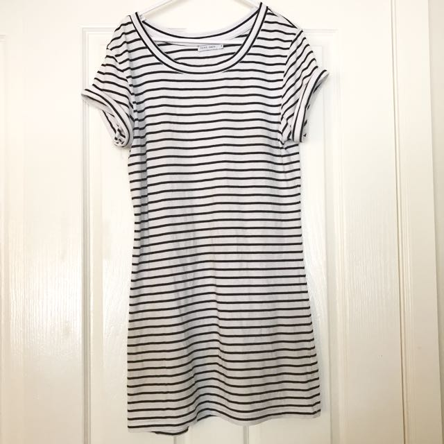 Black And White Striped T Shirt Dress