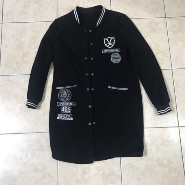 BLACK LONG VARSITY BADGES PATCHES JACKET