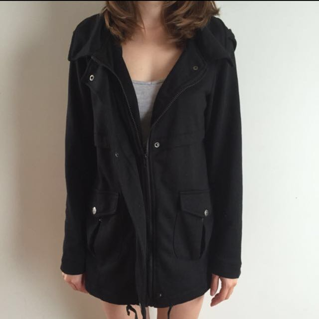 Black parka Anorak Jacket