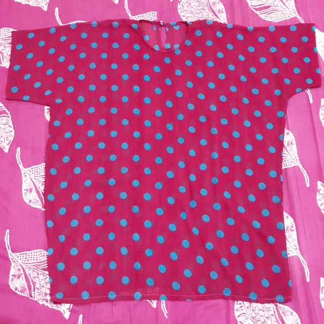 Blouse Pink Polka Dot All Size Like New