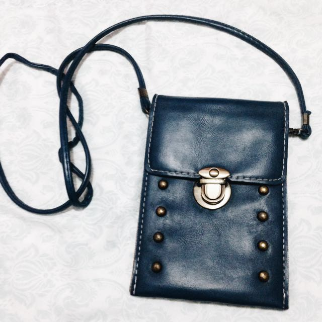 Blue Semi-Leather Body Bag
