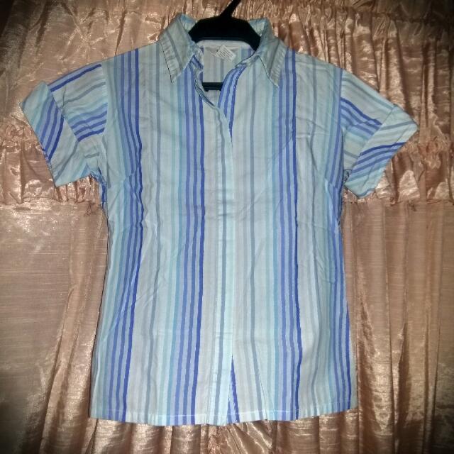 Blue Striped Women's Polo