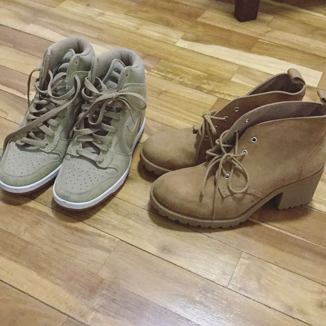 BUNDLE Nike nude Heel Sneakers / HM Work boots
