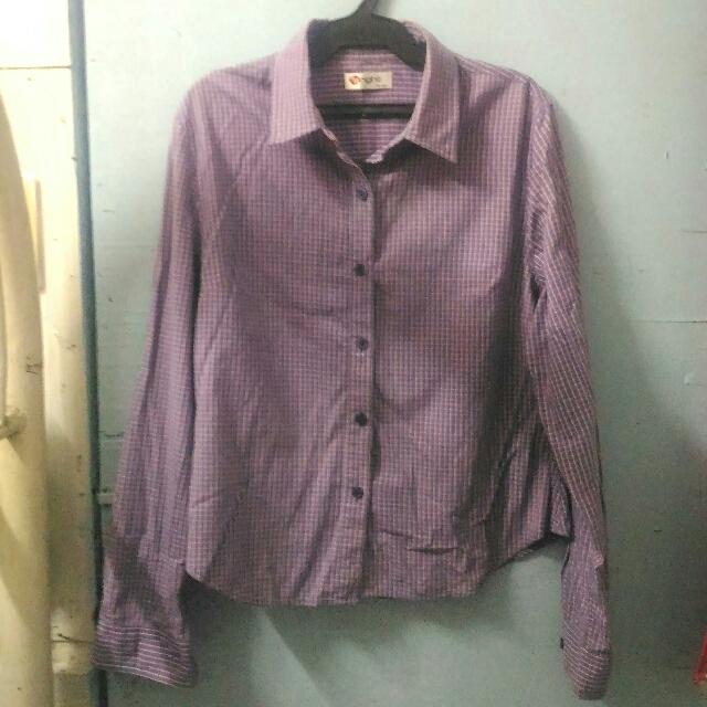 Button-down Plaid Long Sleeves Polo