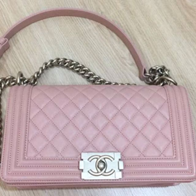 27848decf24395 Chanel Boy Blush Pink New Medium, Luxury, Bags & Wallets on Carousell