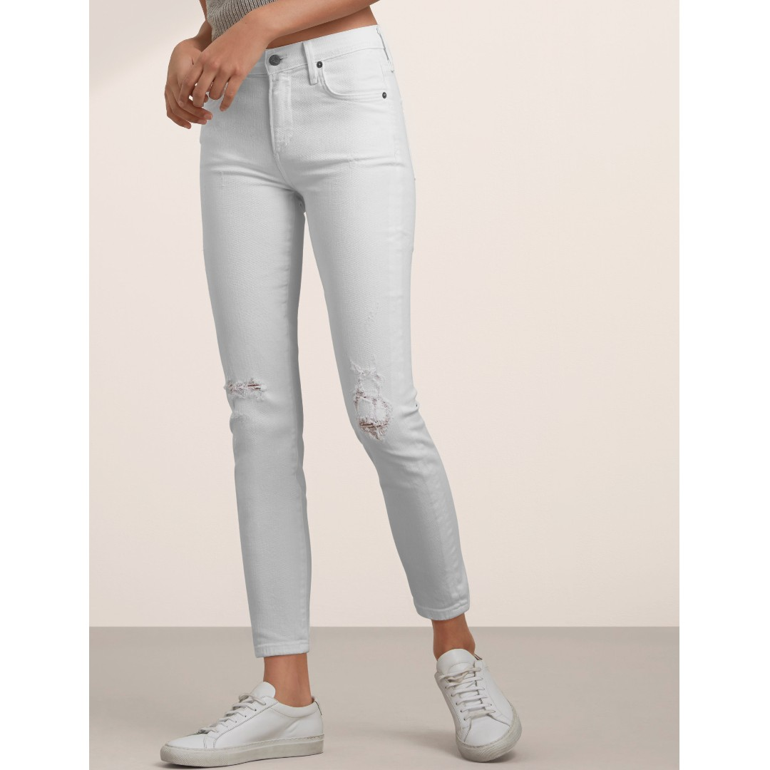 Citizens of Humanity ROCKET Distressed Milos White Jeans - Aritzia Size 27