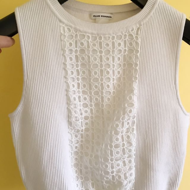 Club Monaco Mollie Crop Sweater in White