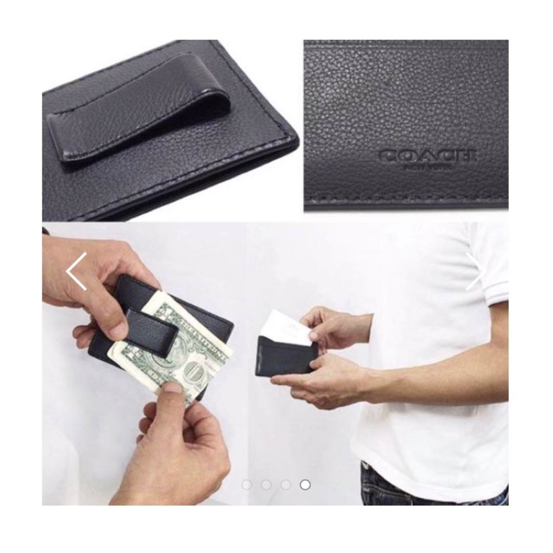 077a7a47 Coach Money Clip Card Case In Calf Leather, Black or Brown, Men's ...