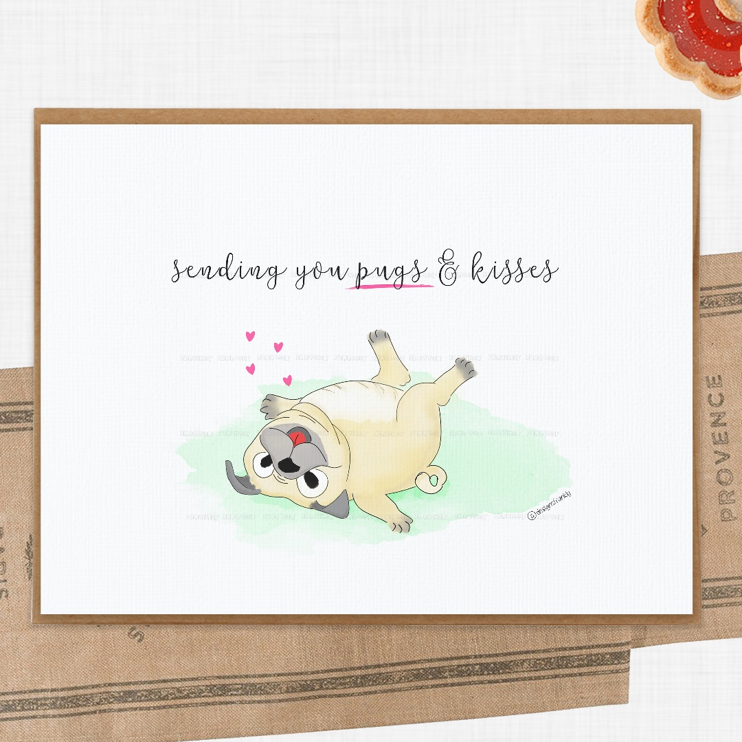 pug pun Handmade greeting card pugs funny animal card Pug card You/'re Pawsome Valentines day card Love card Pugs and Kisses
