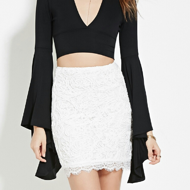 F21 Textured Eyelash Lace Skirt