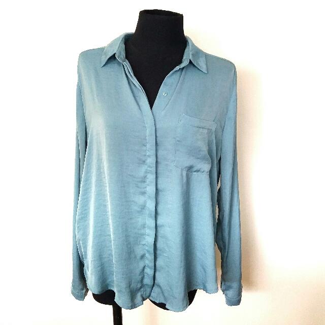 Forever 21 Sea Green Long Sleeved Shirt