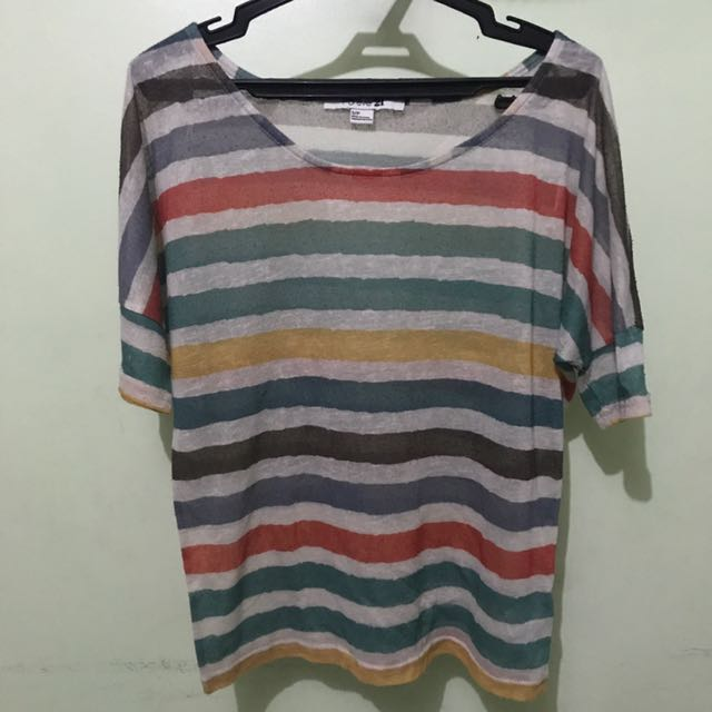 Forever 21 Striped Sheer Top