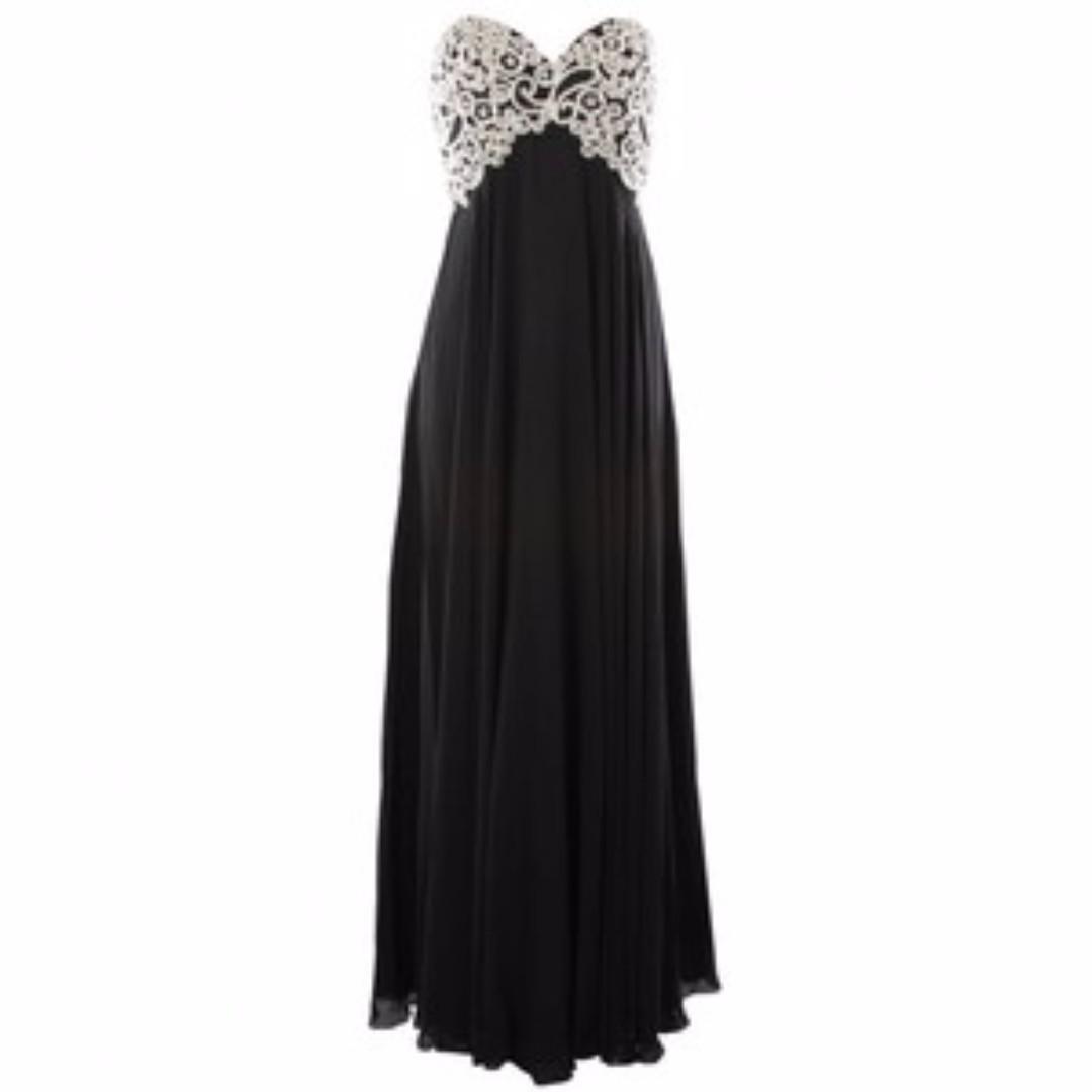 Forever Unique Maggie Maxi Dress Black Sz 8