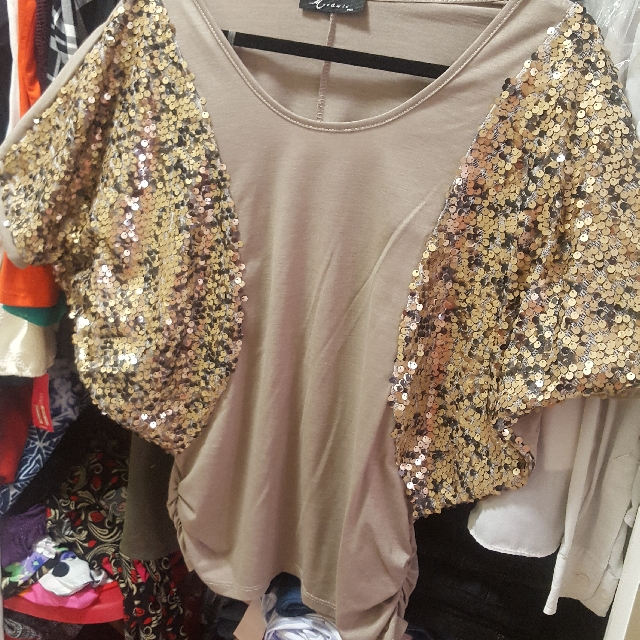 Gold And Beige Sequin Sleeve Top