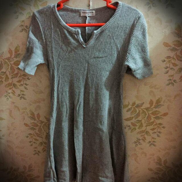 Gray V-neck Dress