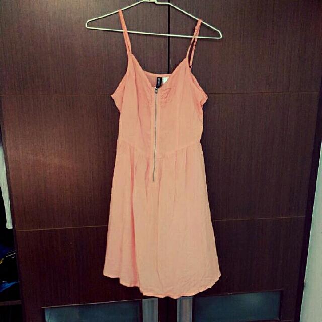 Hm橘粉小洋裝