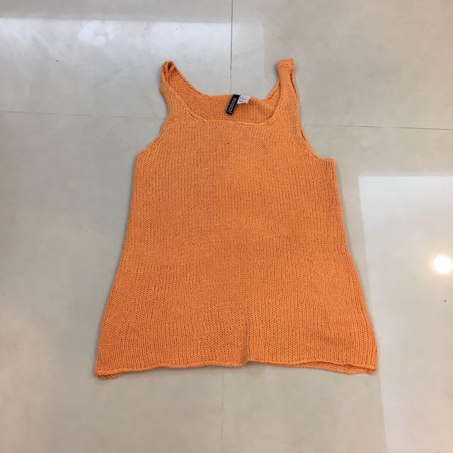 H&M HM 橘色 素色 針織 背心 洋裝 挖背 細肩 無袖 長版