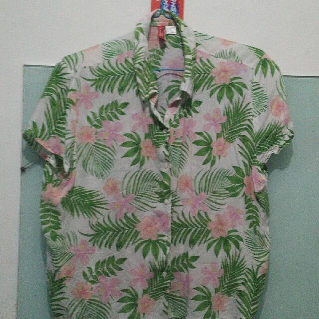 h&m kemeja croptop hawai free ongkir