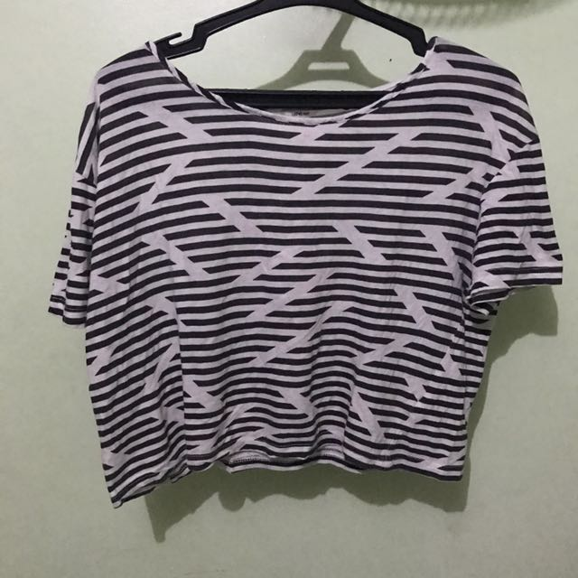 I Love H81 (Forever 21) Striped Black And White Crop Top