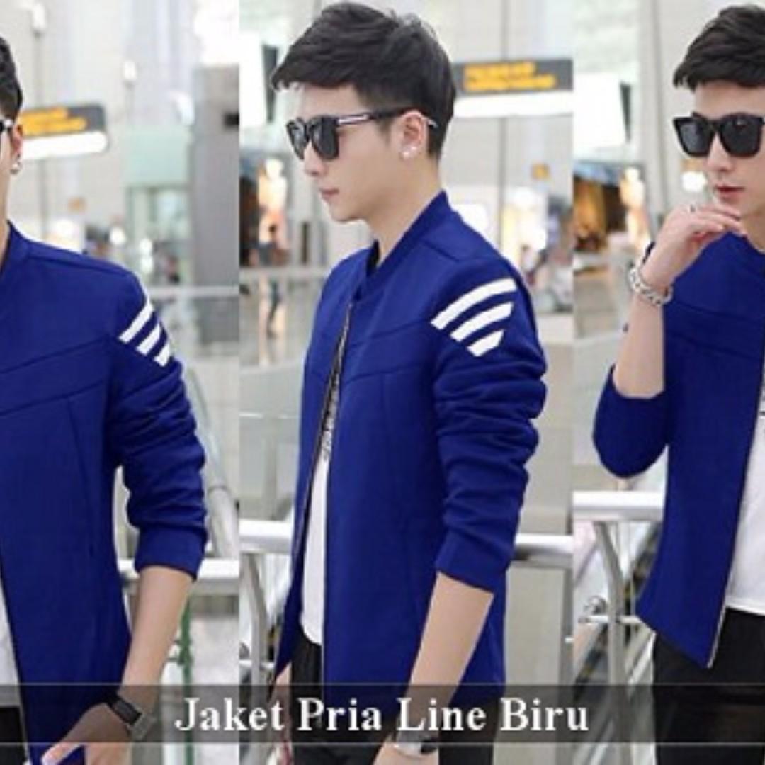 Jual Blazer Pria - Jas Blazer Murah - Jaket Pria Line Biru, Olshop Fashion,