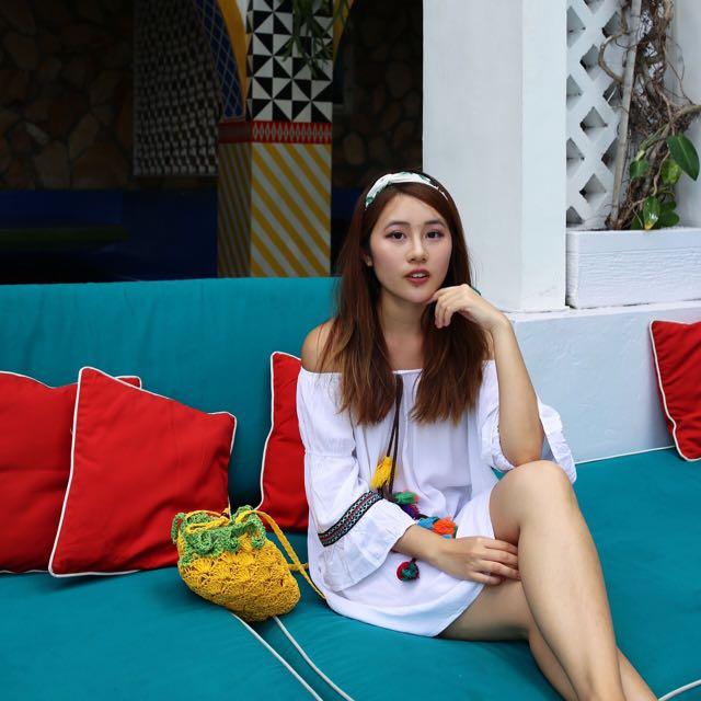 Korean Off Shoulder Pom Pom Dress