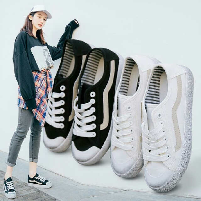 a00d9e4ec3065f Korean Ulzzang Street Footwear Fashion Black-spots Bottom Flat VANS ...
