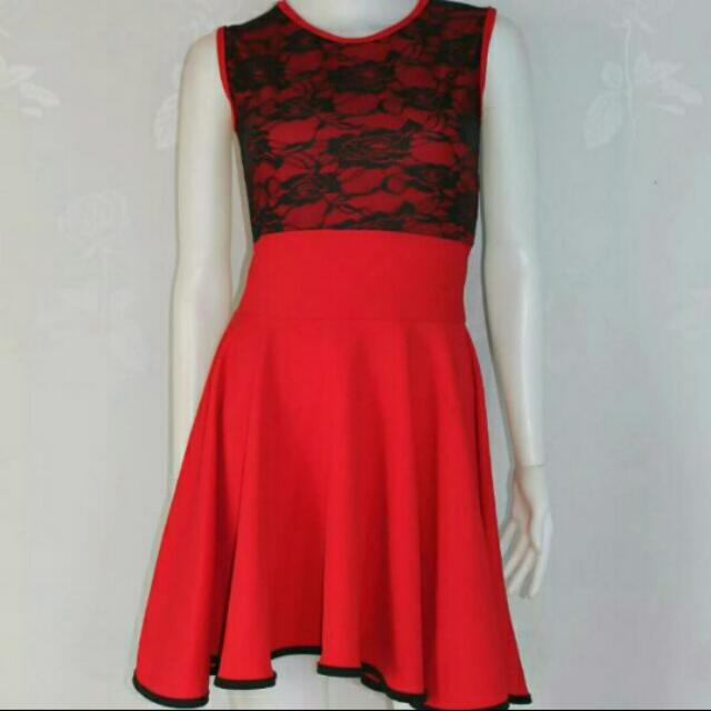 Laced Overlay Flared Dress
