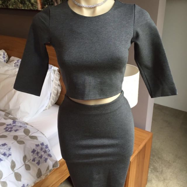 Ladies Crop Top Skirt Dress Set Size 8