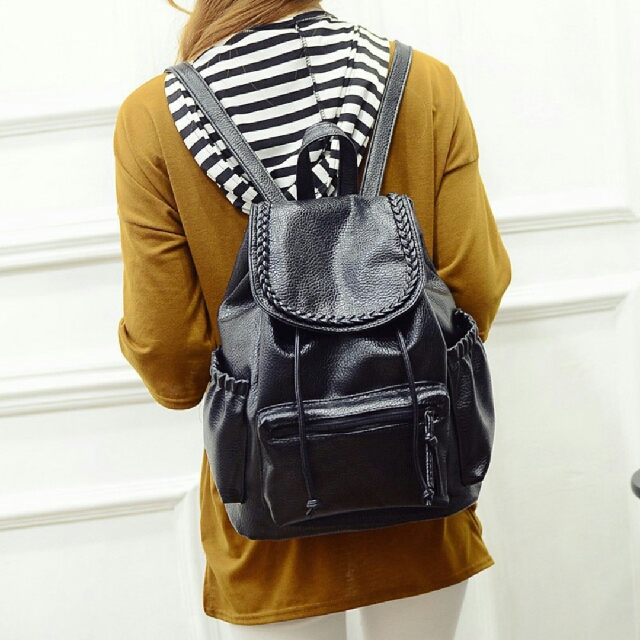 Leather Braid Backpack