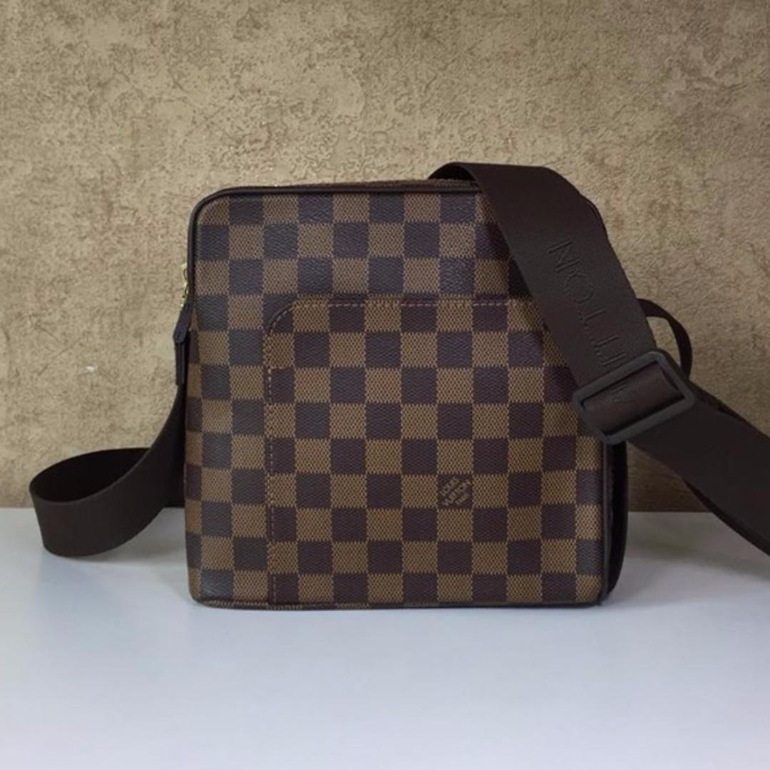 LOUIS VUITTON N41442 OLAF PM DAMIER EBENE CANVAS SHOULDER BAG ... 2c96b81f1e145