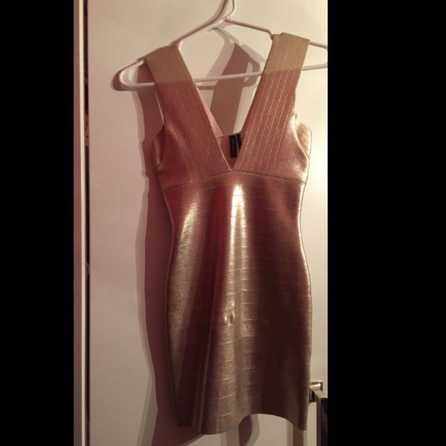 Marciano Gold Bandage Dress