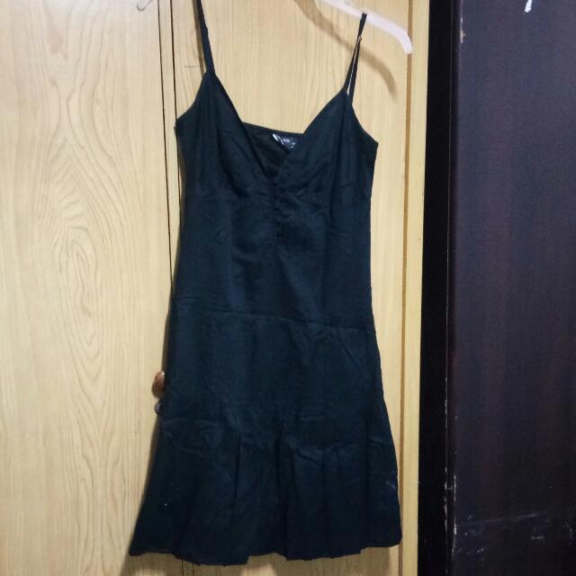 Mini Black Casual Spaghetti Dress