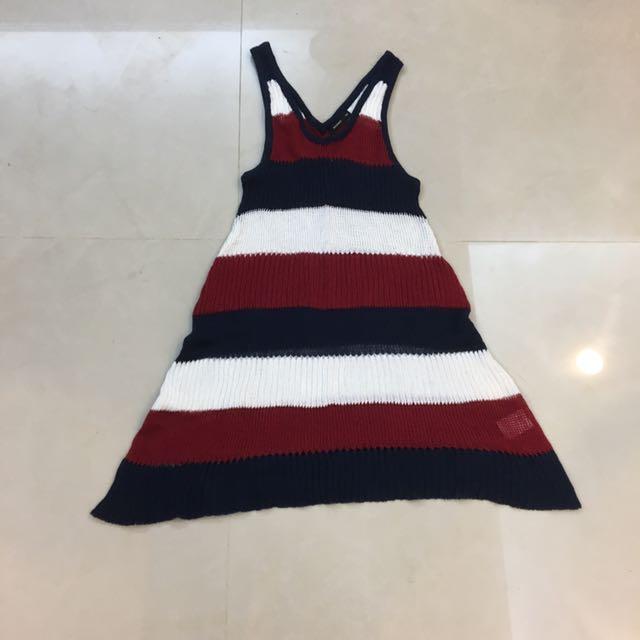 MOMA 針織 背心 挖背 無袖 細肩 條紋 藍 白 紅 洋裝