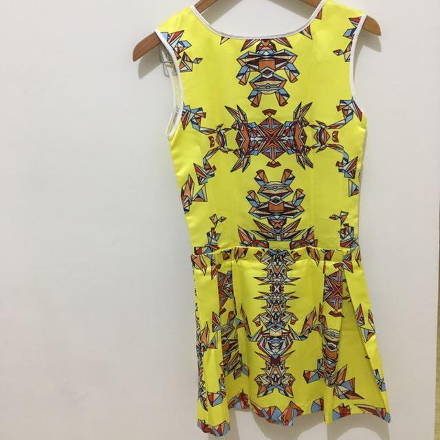 Neon Yellow Pattern Dress