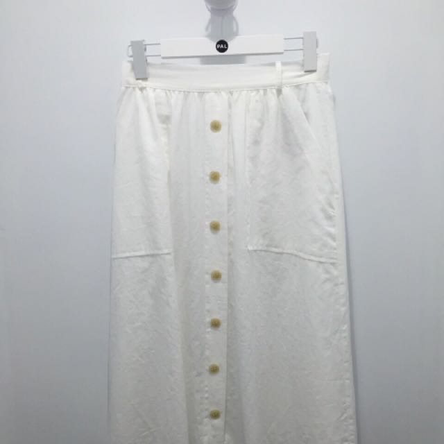 PAL白色及膝裙