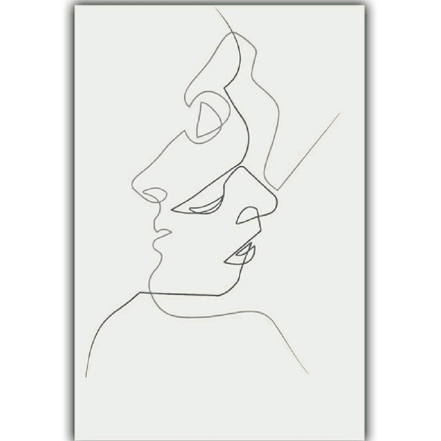 Picasso Simple Line Curve Black White Abstract Painting Kiss Art Print Poster Canvas Combined Home Decor Vintage Collectibles