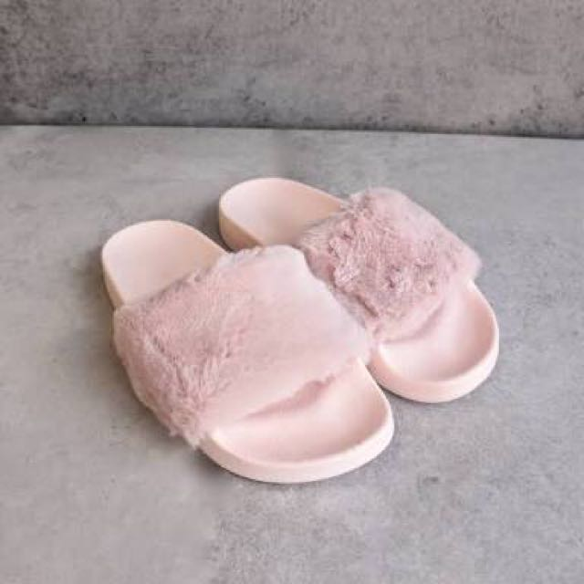 pink fluffy slides women s fashion shoes on carousell