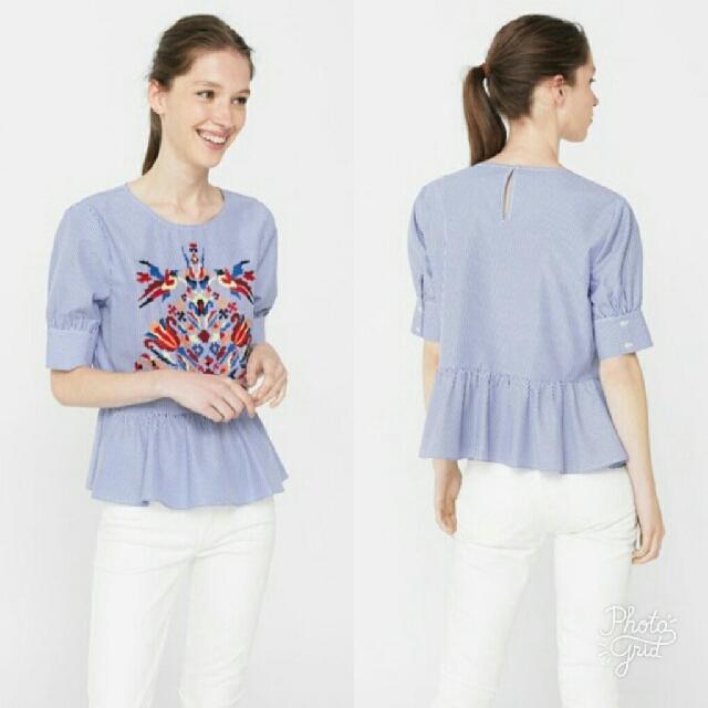 Powder Blue Peplum Top w/ Embroidery