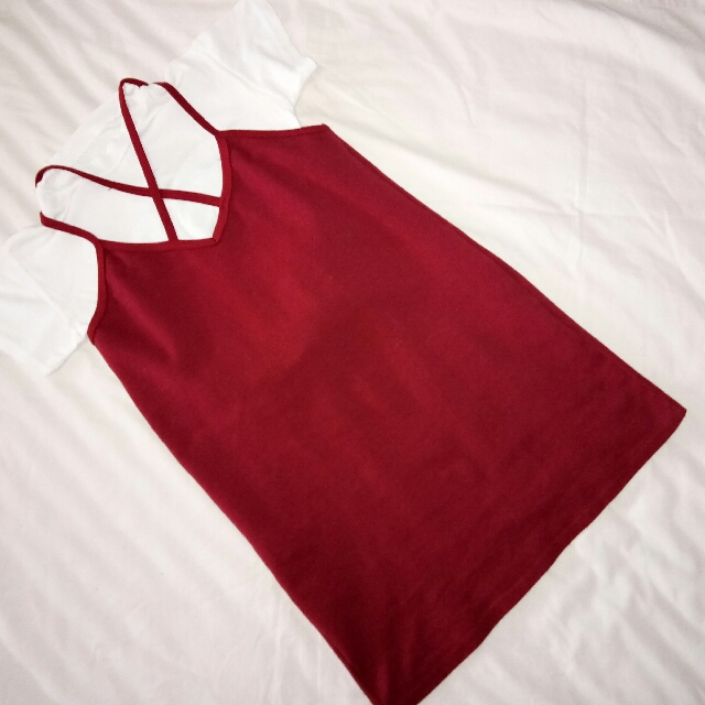 Red Spaghetti Cross Strap Dress