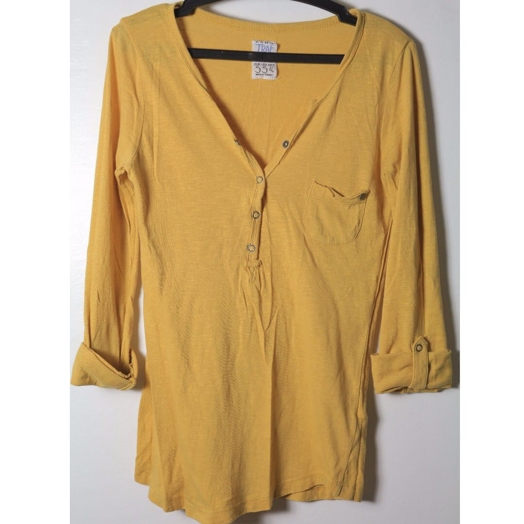 REPRICED Zara Mustard Long Sleeve Top