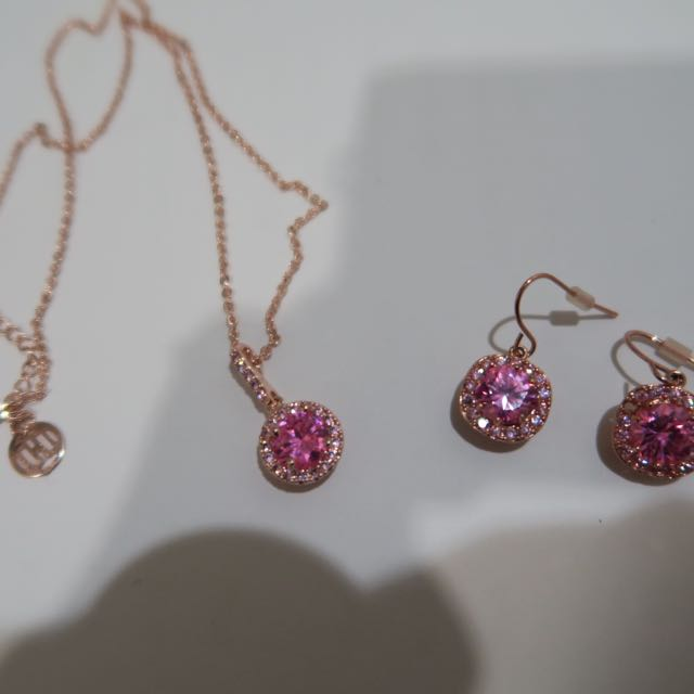 Rose Gold Pendant And Earring Set