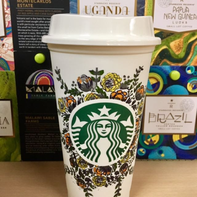 Starbucks Reusable Cup Flower Design