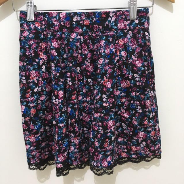 Stradivarius - Flower Multicolor Skirt