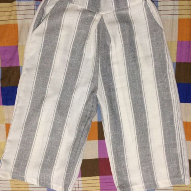 Striped Square Pants Culottes-FREE SHIPPING on worth 500.00 purchase