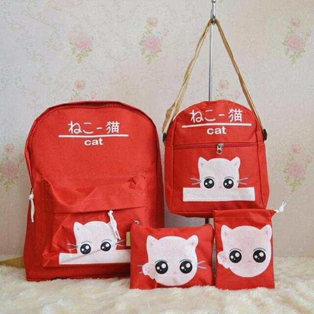 Tas Ransel Atau Tas Punggung Beranak 4 In 1 Cat Seri Merah