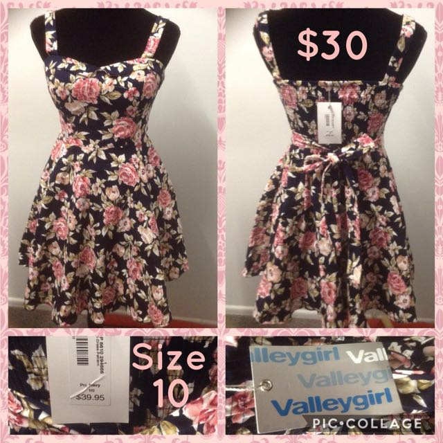 Valleygirl Navy & Floral Tie Back Dress Size 10
