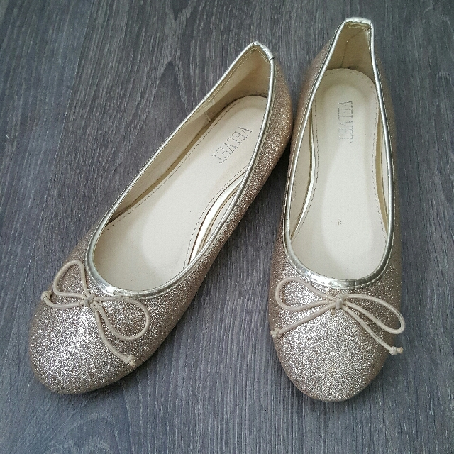 VELVET Marcy Glitter Flats In Gold Size 38