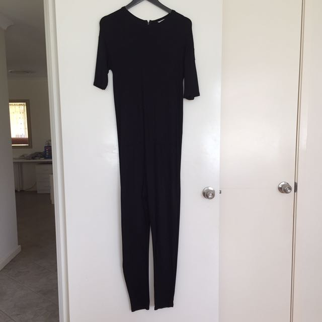 Zara Black Drop Crotch Jersey Jumpsuit Small